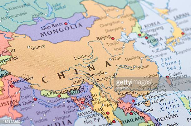 china map - national border stock pictures, royalty-free photos & images
