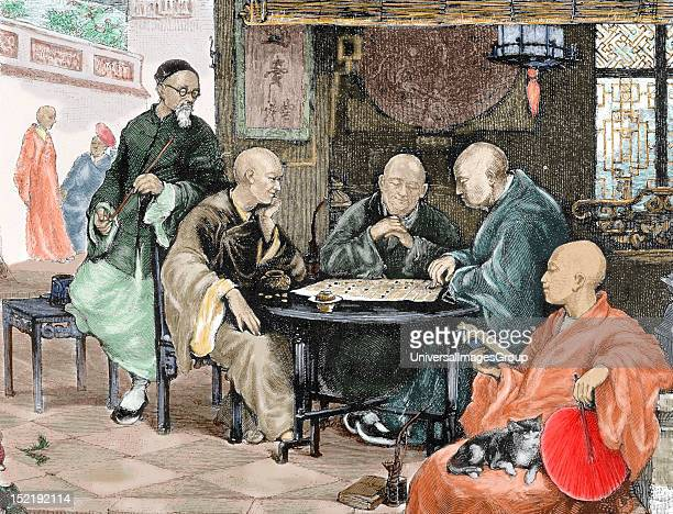 China Men playing draughts in a tavern Nineteenthcentury colored engraving