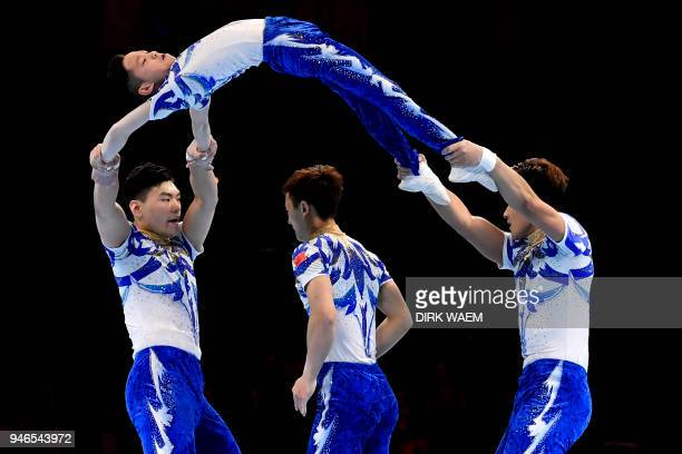 China Men's Group Fu Zhi Pei Guo Jiang Heng Zhang Junshuo perform during the finals of the men's group on the third day of the 26th Edition of the...