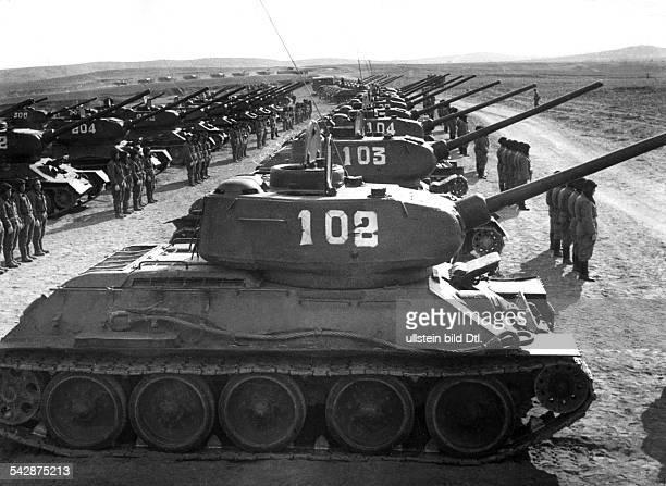 VR CHina Militär Herr Eine Panzereinheit der Volksbefreiungsarmee angetreten im ManövergebietAugust 1958