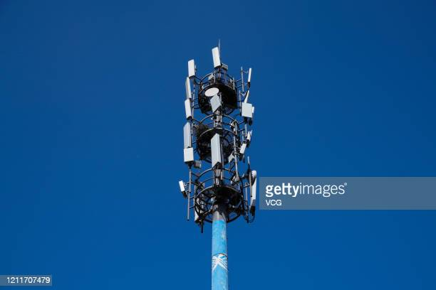 China Mobile base station which has been upgraded for 5G network is pictured on March 10 2020 in Taiyuan Shanxi Province of China