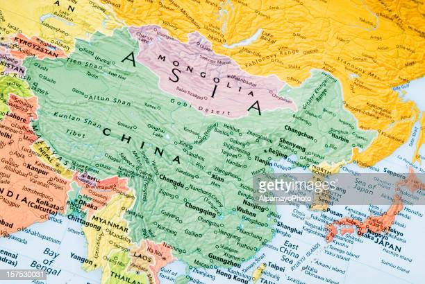 China, Mongolia and Japan regional map