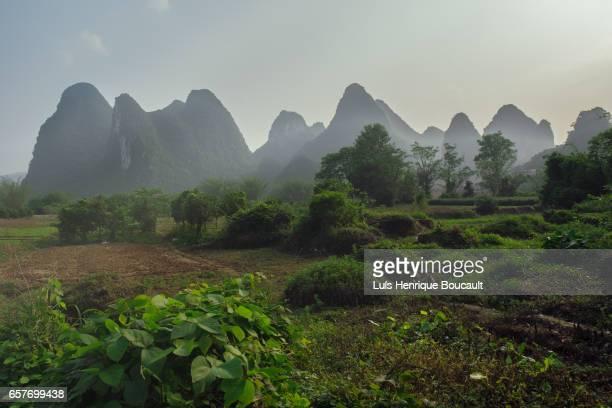 china mountains - formación karst fotografías e imágenes de stock