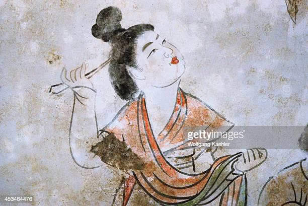China Near Xian Yang Tang Tombs Interior Wall Paintings Woman