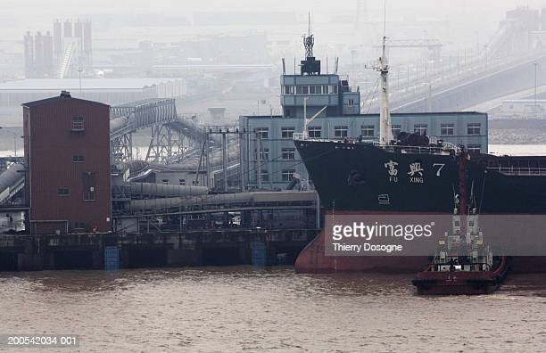 China, Ningbo, container ship in port