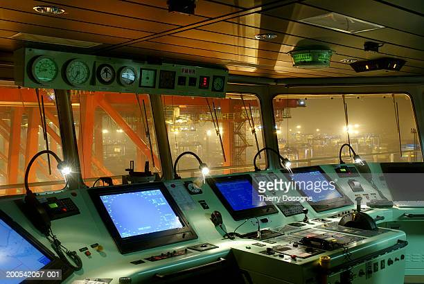 China, Ningbo Port, command bridge on ship, interior
