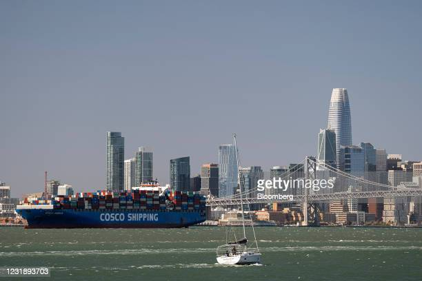 China Ocean Shipping Group Co. Ship in the San Francisco Bay waits to enter the Port of Oakland in Oakland, California, U.S., on Tuesday, March 23,...