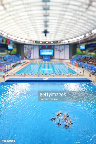 China perform in the Women's Team Technical Routine during day two of the 2014 Asian Games at Munhak Park TaeHwan Aquatics Center on September 21...