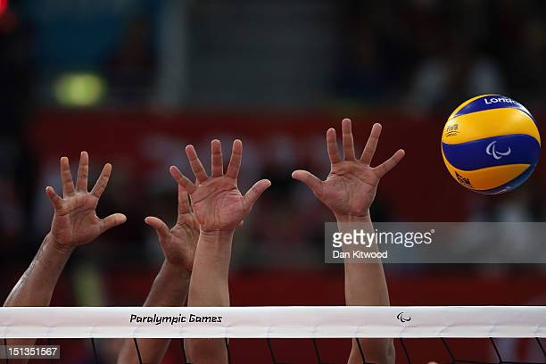 China play Egypt in the men's Sitting Volleyball 58 Clasification match on day 8 of the London 2012 Paralympic Games at ExCel on September 6 2012 in...