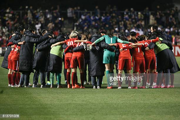 China players celebrate victory after the AFC Women's Olympic Final Qualification Round match between Japan and China at Kincho Stadium on March 4,...