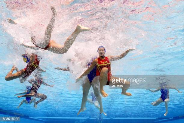 China plays the Netherlands during the Women's Water Polo Classification 9th10th Place on day thirteen of the Budapest 2017 FINA World Championships...