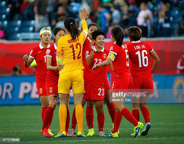 China PR celebrates their 22 tie against New Zealand in the FIFA Women's World Cup Canada 2015 Group A match between China PR and New Zealand at...