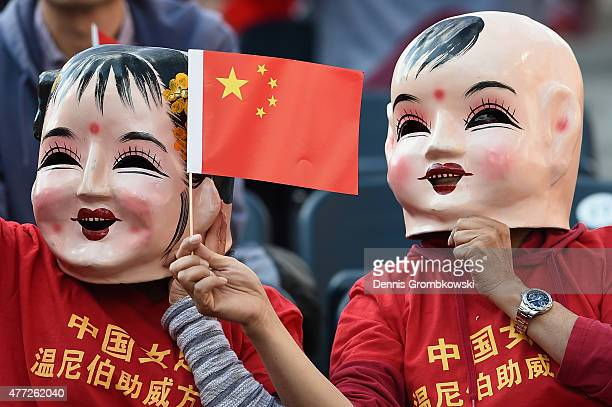 China PR supporters are seen prior to kickoff during the FIFA Women's World Cup Canada 2015 Group A match between China PR and New Zealand at...