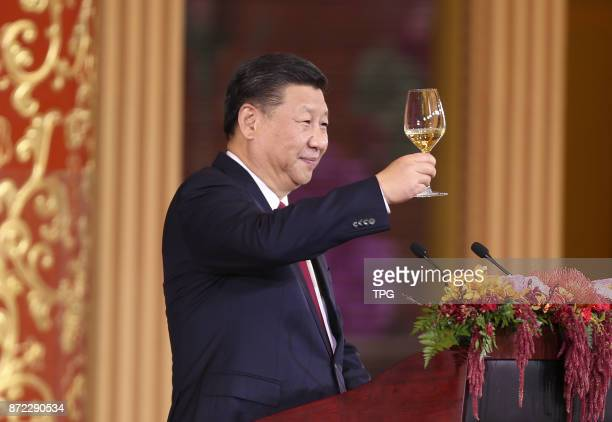 China President Xi Jinping and wife Peng Liyuan welcome US President Donald Trump and wife Melania come to China for state visit on 09th November...