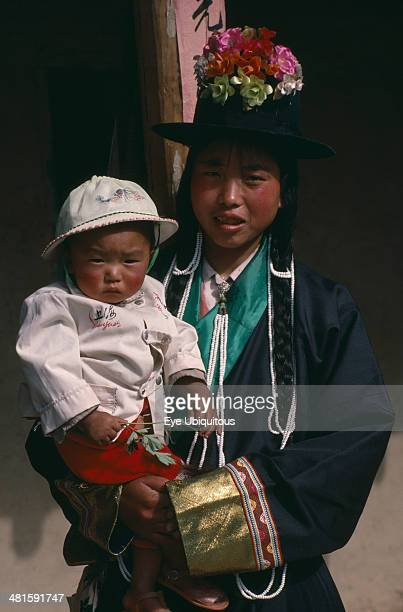 China Qinghai Province Huzhu District Tu minority Tibetan Buddhist mother and daughter