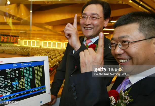 China Resources Power trading debut at HK StoExChairman Song Lin and Wang Shuaiting depty chairman CEO of China Resources Power Holdings Co