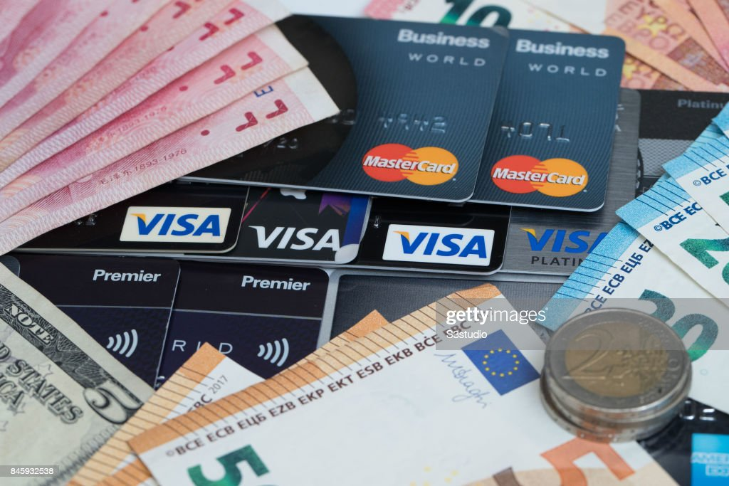 China rmb bank note us dollar euro coins credit card of visa china rmb bank note us dollar euro coins credit card of visa reheart Image collections
