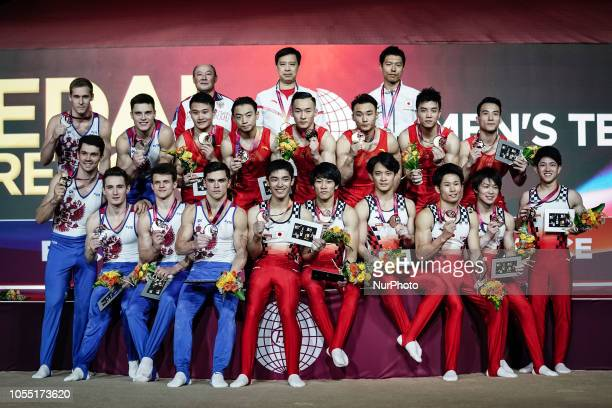 China Russia Japan with their medals at the Team final for Men at the Aspire Dome in Doha Qatar Artistic FIG Gymnastics World Championships on...