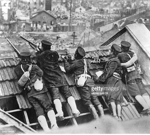 China Second SinoJapanese War 19371945 Battle of Shanghai AugustNovember 1937 Japanese marines took position on the roof of a building September /...