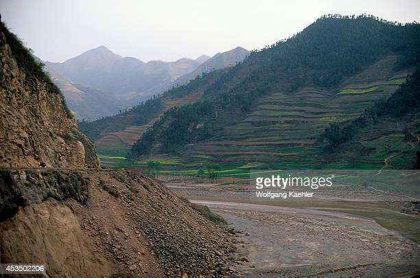 China Shaanxi Province Near Baoji Wei River Valley Wheat Fields Loess Plateau
