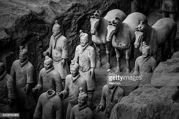 China, Shaanxi, Xi'an, Lintong District, Terracotta Soldiers and horses at excavation site