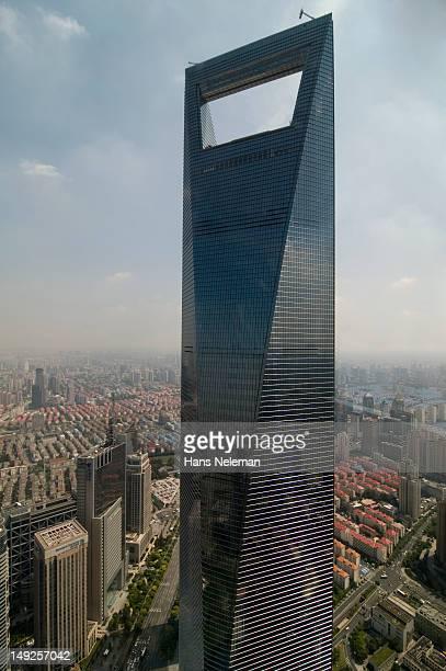 China, Shanghai, Lujiazui, Shanghai World Financial Center, High angle view