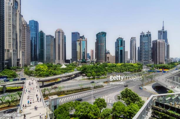 china, shanghai, lujiazui, view to skyline - lujiazui stock photos and pictures