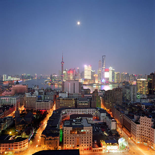 China, Shanghai skyline and financial district at