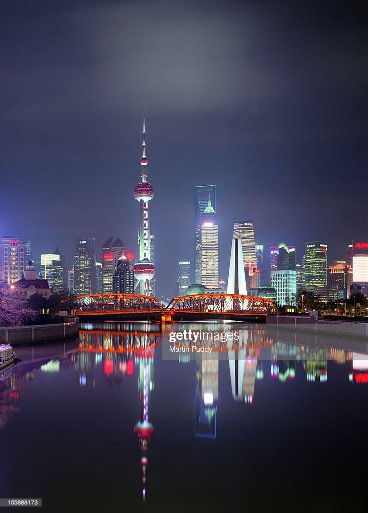 China, Shanghai skyline at night : Stock Photo