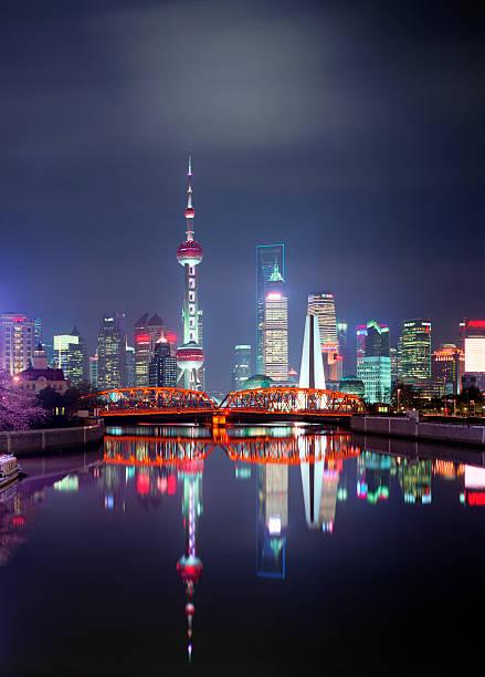 China, Shanghai skyline at night