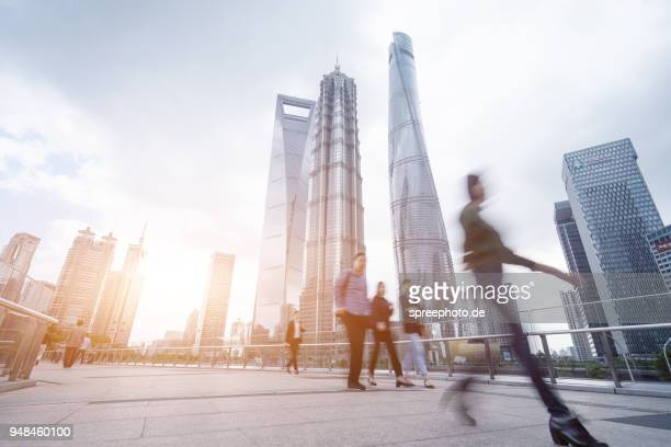 china, shanghai skyline - huangpu river stock photos and pictures