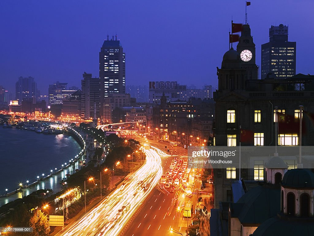 China, Shanghai, The Bund at dusk, elevated view (blurred motion) :