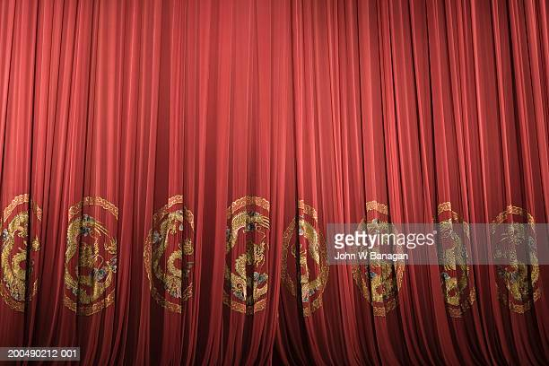 China, Shanghai, Yifu Theatre, closed red stage curtains