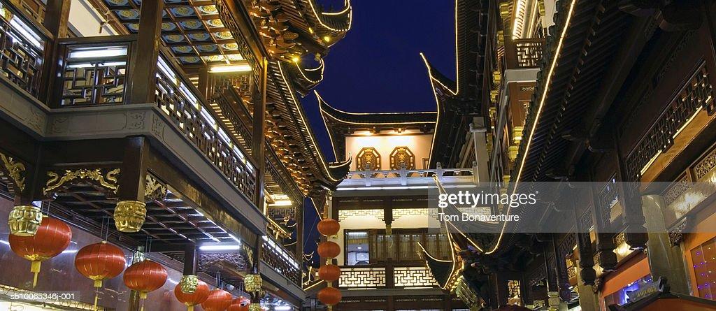 China, Shanghai, Yu Gardens Bazaar at night : Foto stock