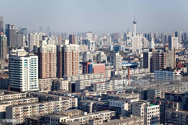 china shenyang metropolis panoramic view tv tower - shenyang stock pictures, royalty-free photos & images