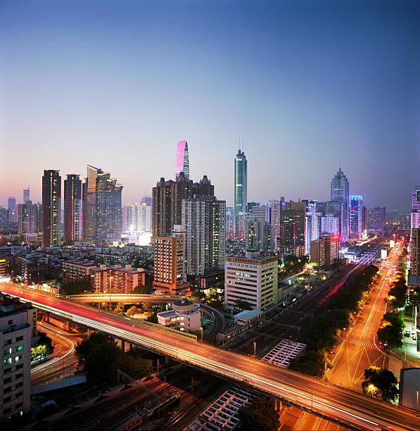 China, Shenzen skyline at dusk