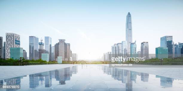 china, shenzhen skyline panorama - shenzhen stock pictures, royalty-free photos & images
