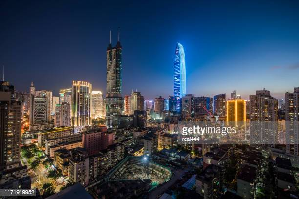 china shenzhen skyscraper - guangdong province stock pictures, royalty-free photos & images