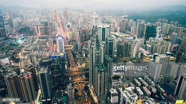 china, shenzhen wolkenkratzer - shenzhen stock-fotos und bilder