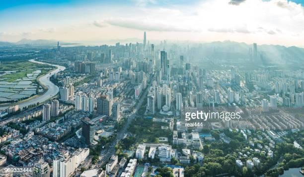 中国深センの街並み - 深圳市 ストックフォトと画像