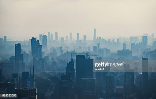 china shenzhen skyscraper - smog stock pictures, royalty-free photos & images
