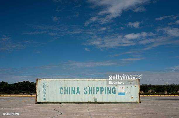 A China Shipping Container Lines Co container sits at the Port of Savannah in Savannah Georgia US on Friday Aug 14 2015 The trade deficit in the US...