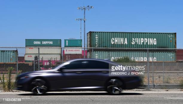 China Shipping containers are pictured at Port of Long Beach on August 23 2019 in Long Beach California President Donald Trump hit back at China on...