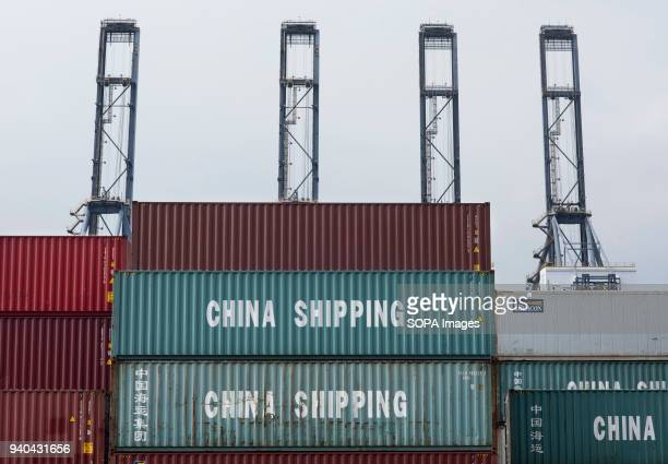 China Shipping containers seen at the Container terminal in Hong Kong The Hong Kong Container Terminals is the sixth busiest container port in the...