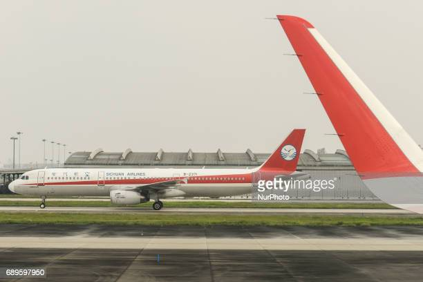 China Sichuan Airline aircraft seen at Wuhan Airport On Monday September 12 2016 in Wuhan China