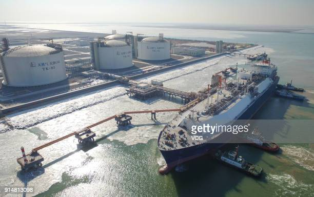 China Sinopec's new Tianjin terminal receive its first liquefied natural gas cargo from Australia on February 6, 2018 in Tianjin, China. The Tianjin...