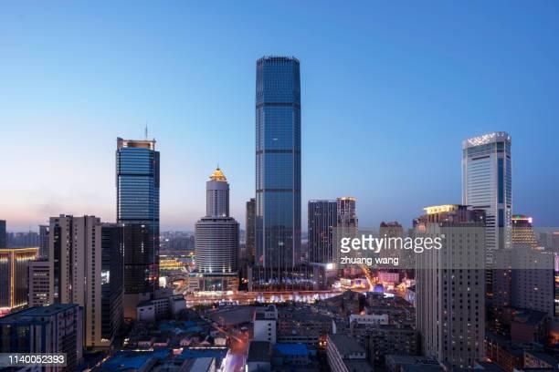 china skyline with world trade center - zhongshan stock-fotos und bilder
