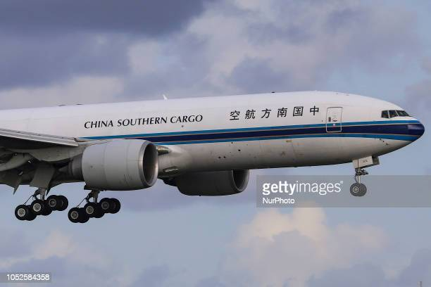 China Southern Airlines Boeing 777F Cargo aircraft landing in Amsterdam Schiphol Airport in the Netherlands The aircraft registration is B2072 China...