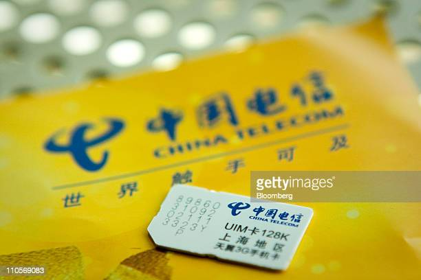 A China Telecom Corp sim card is displayed in Beijing China on Tuesday March 22 2011 China Telecom the country's biggest fixedline carrier said it...