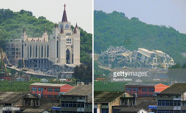 WENZHOU China The Sanjian Church in Wenzhou in China's east coast province of Zhejiang is forcefully demolished on April 29 right before the...